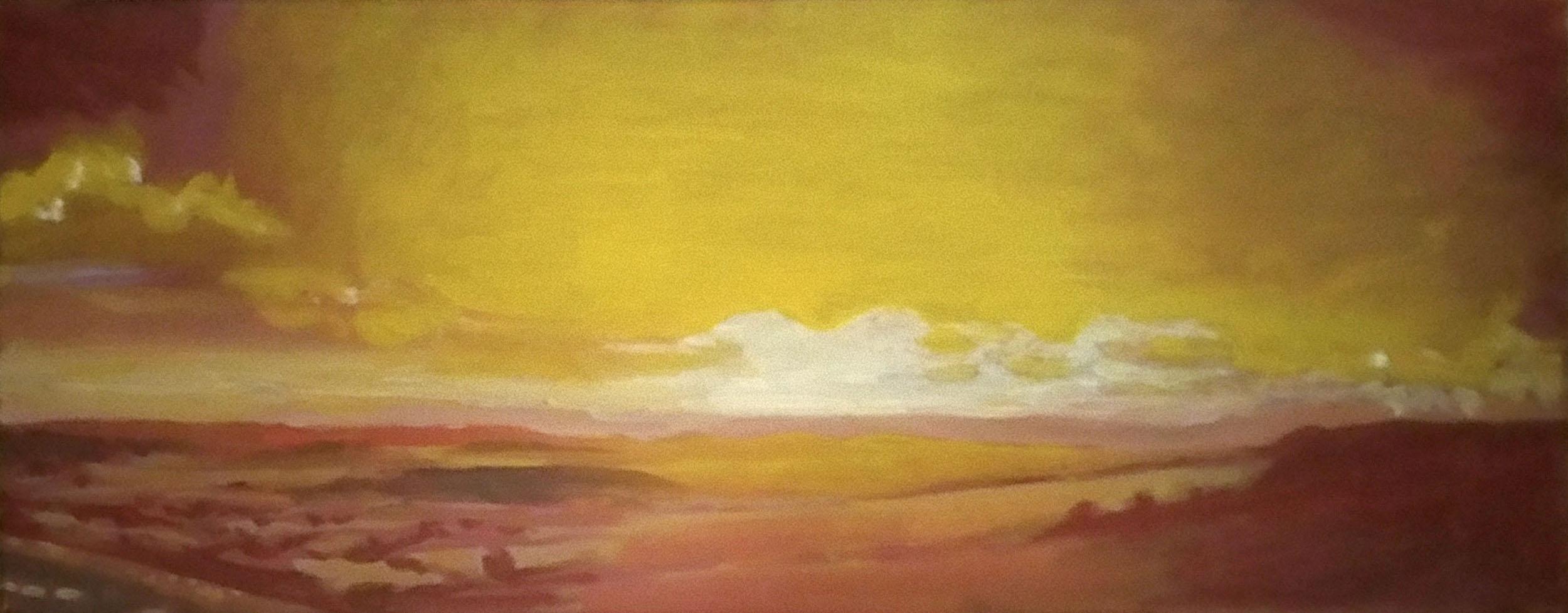 """Eggardon Sunshine 20""""x8"""" oil on canvas"""