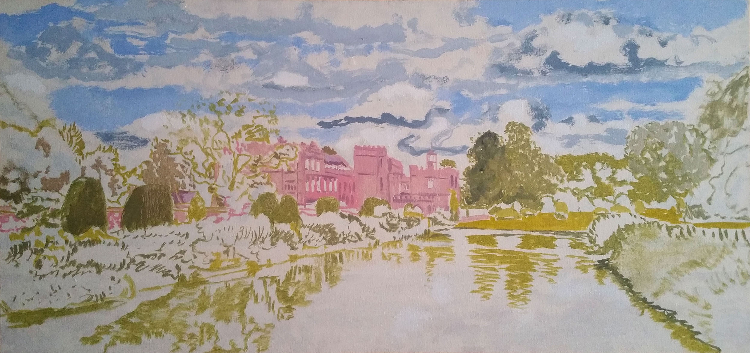 """Forde Abbey 36""""x17"""" oil on canvas"""