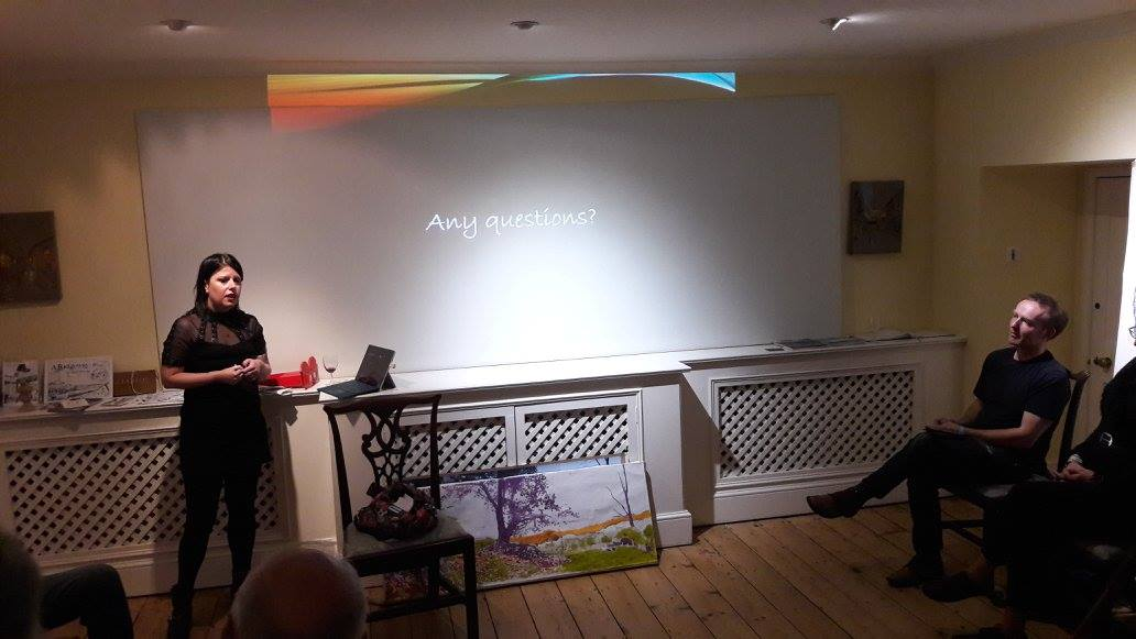 Jessica Otterwell  talking about her Writing experiences at our Salon on Sunday 22nd October 2017