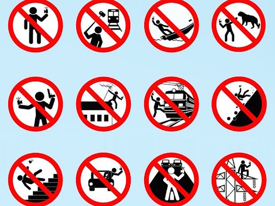 Death By Selfie warning icons on how not to take a selfie. Don't know why I find this so funny.
