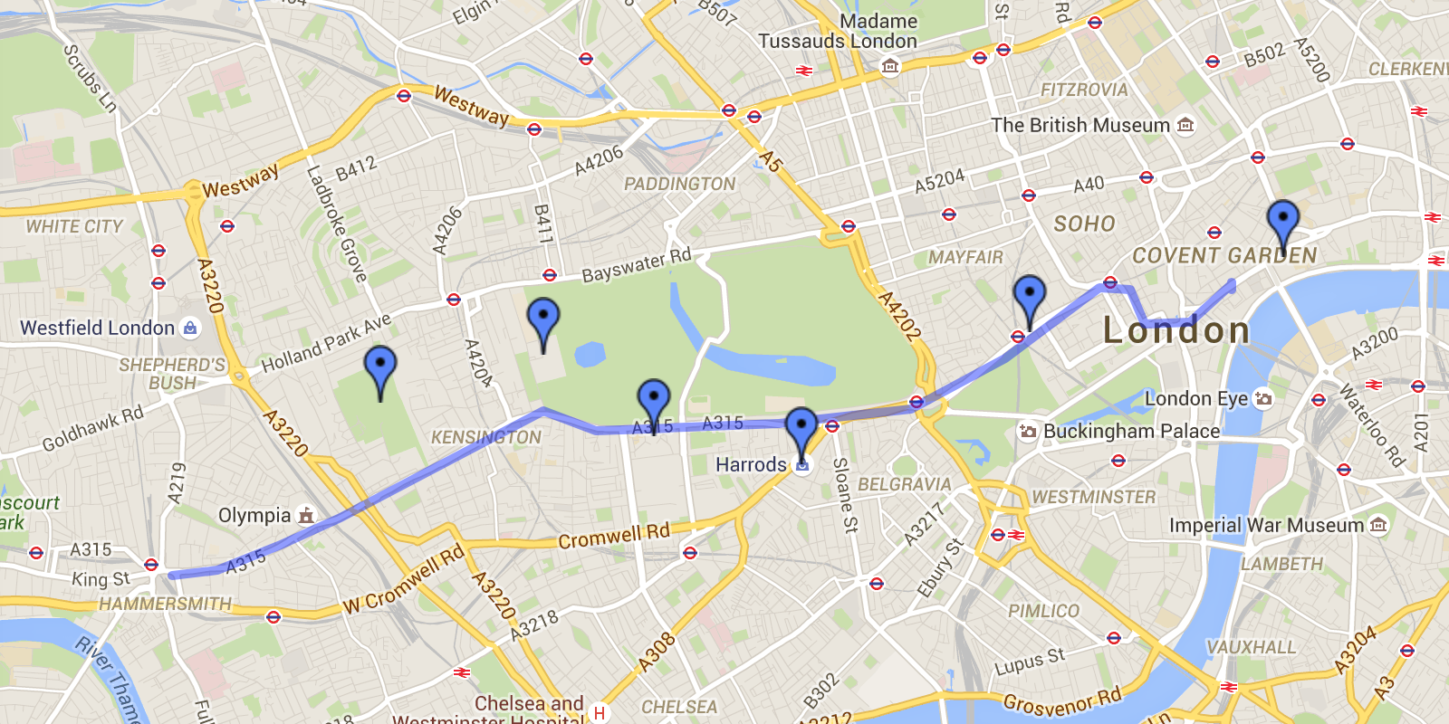 Bus Route 9 from Aldwych to Hammersmith