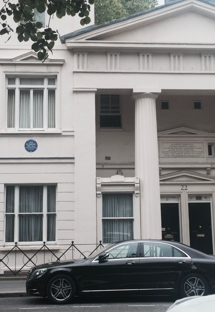 Former home of Ian Fleming. How cool if instead of the Mercedes parked out front there was an Aston Martin (or cooler the flying car from Chitty Chitty Bang Bang).