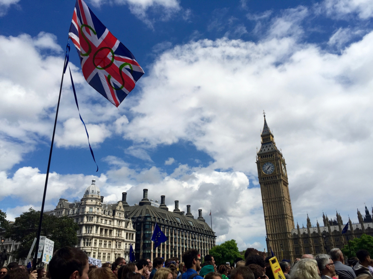 SOS British flag flying at March of Europe supporting UK staying in the EU