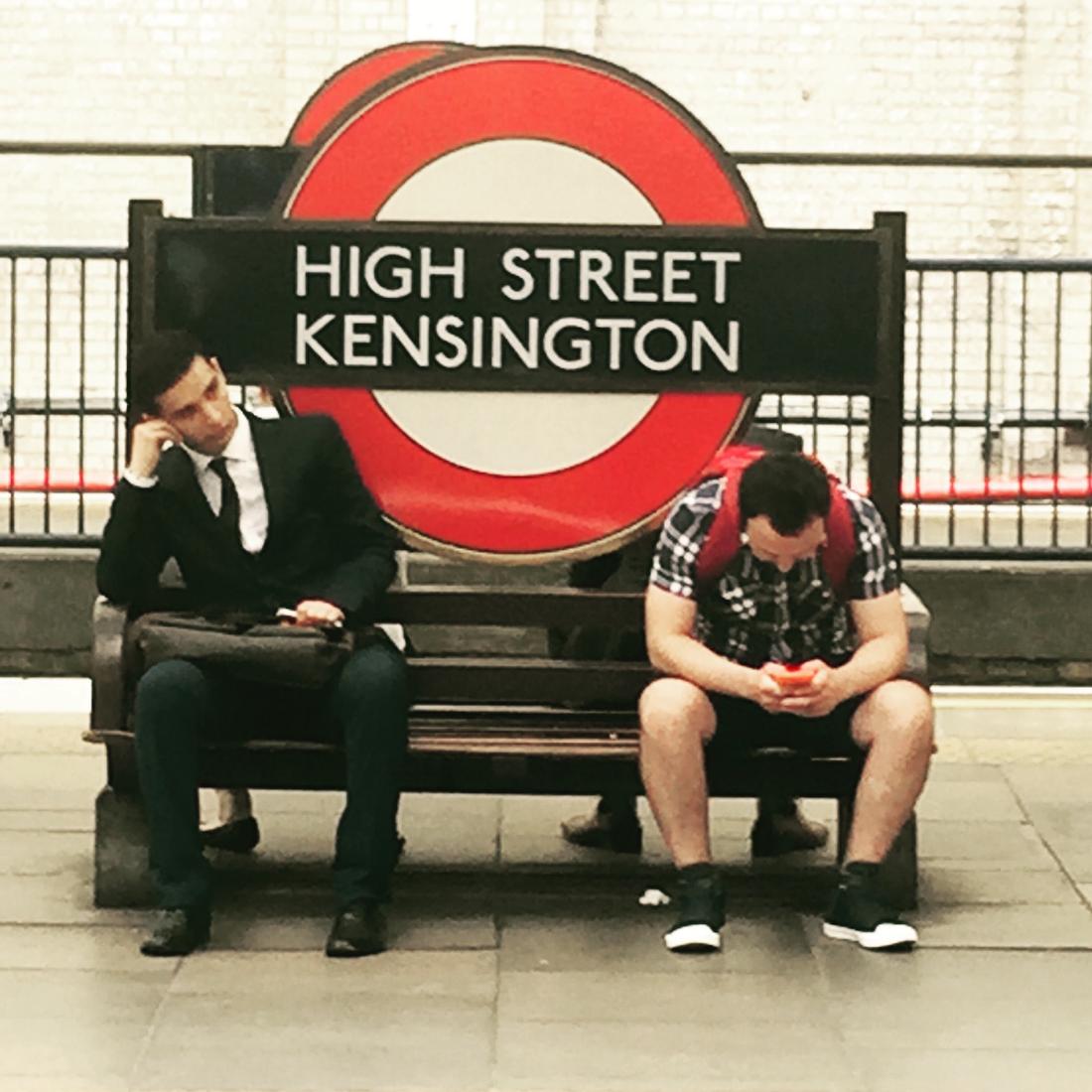 Waiting at High Street Kensington Tube London