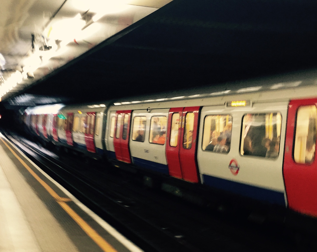 Train at Embankment Tube Stop, London