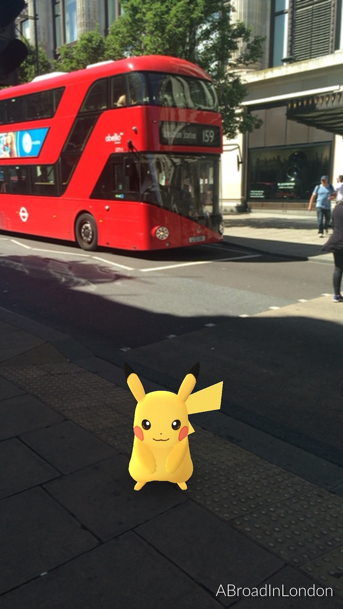 "Here is the ""poster child"" of the Pokémon world and a rare find in this game, Pikachu...and yup I caught him, while shopping on Oxford Street."