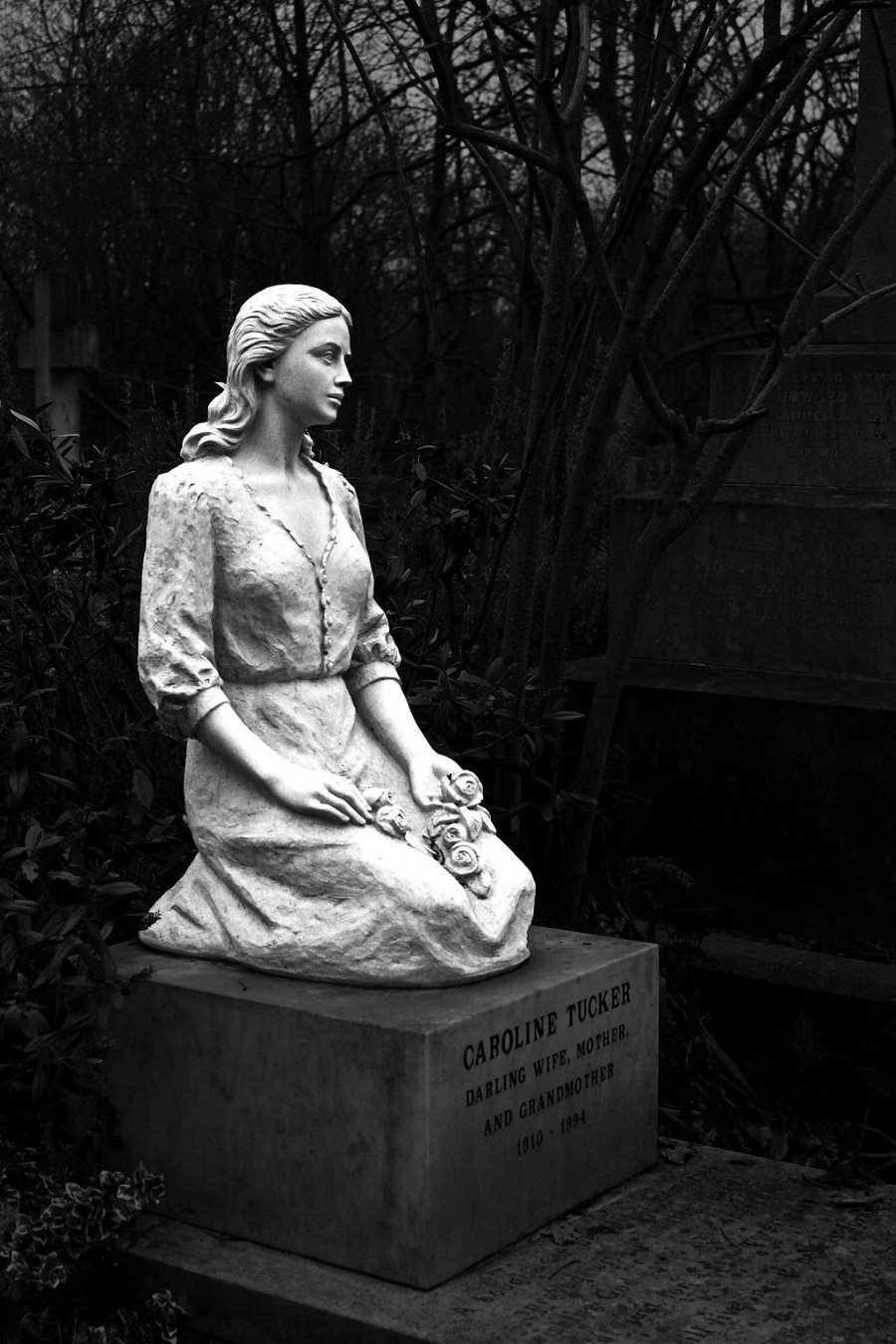 Beautiful tombstone of a woman at Highgate Cemetery.