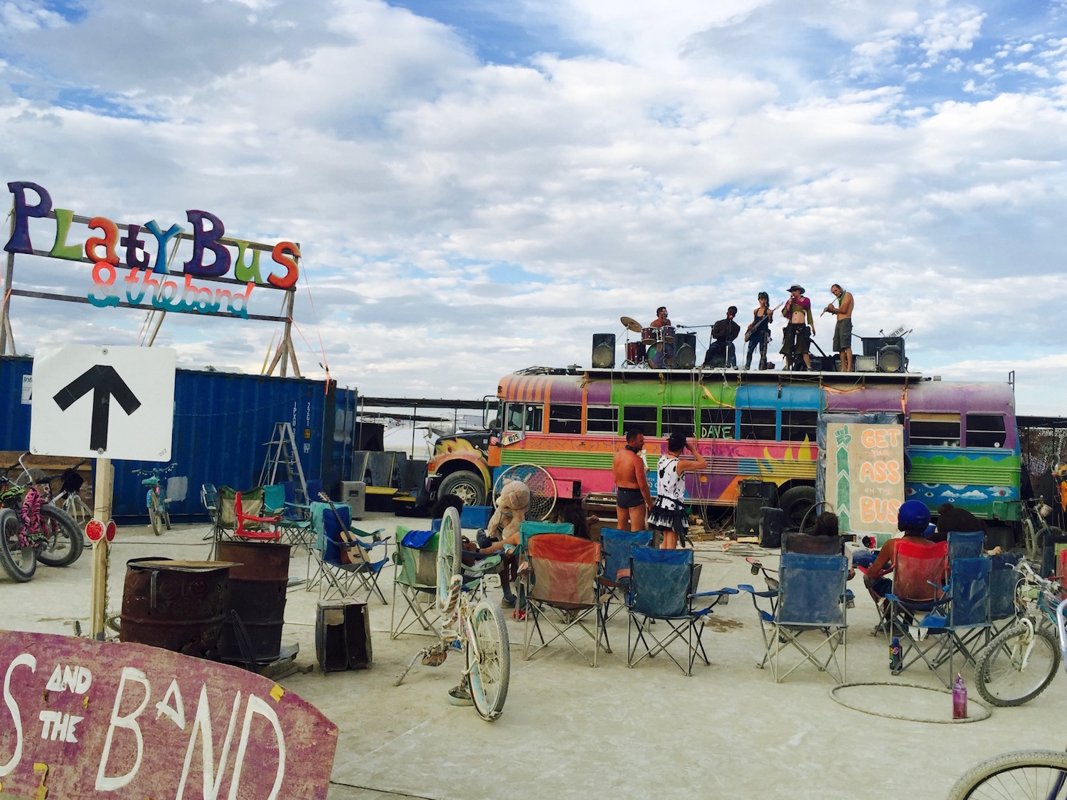Platy Bus & The Band rocking on top of the bus. Burning Man