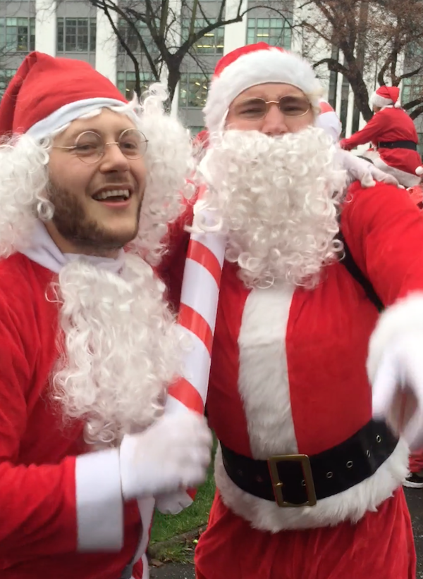 Click here to see the singing Santas...and the reindeer games behind them.