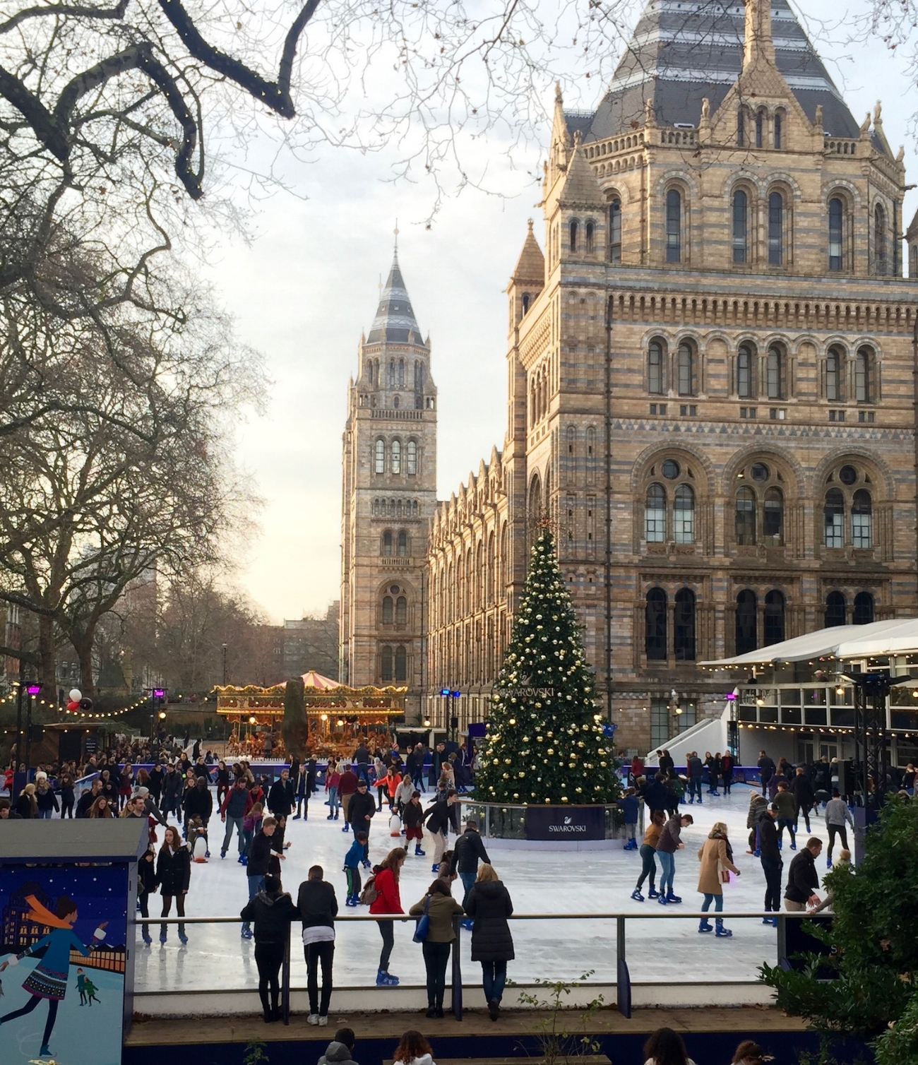 Ice skating outside the Natural History Museum .