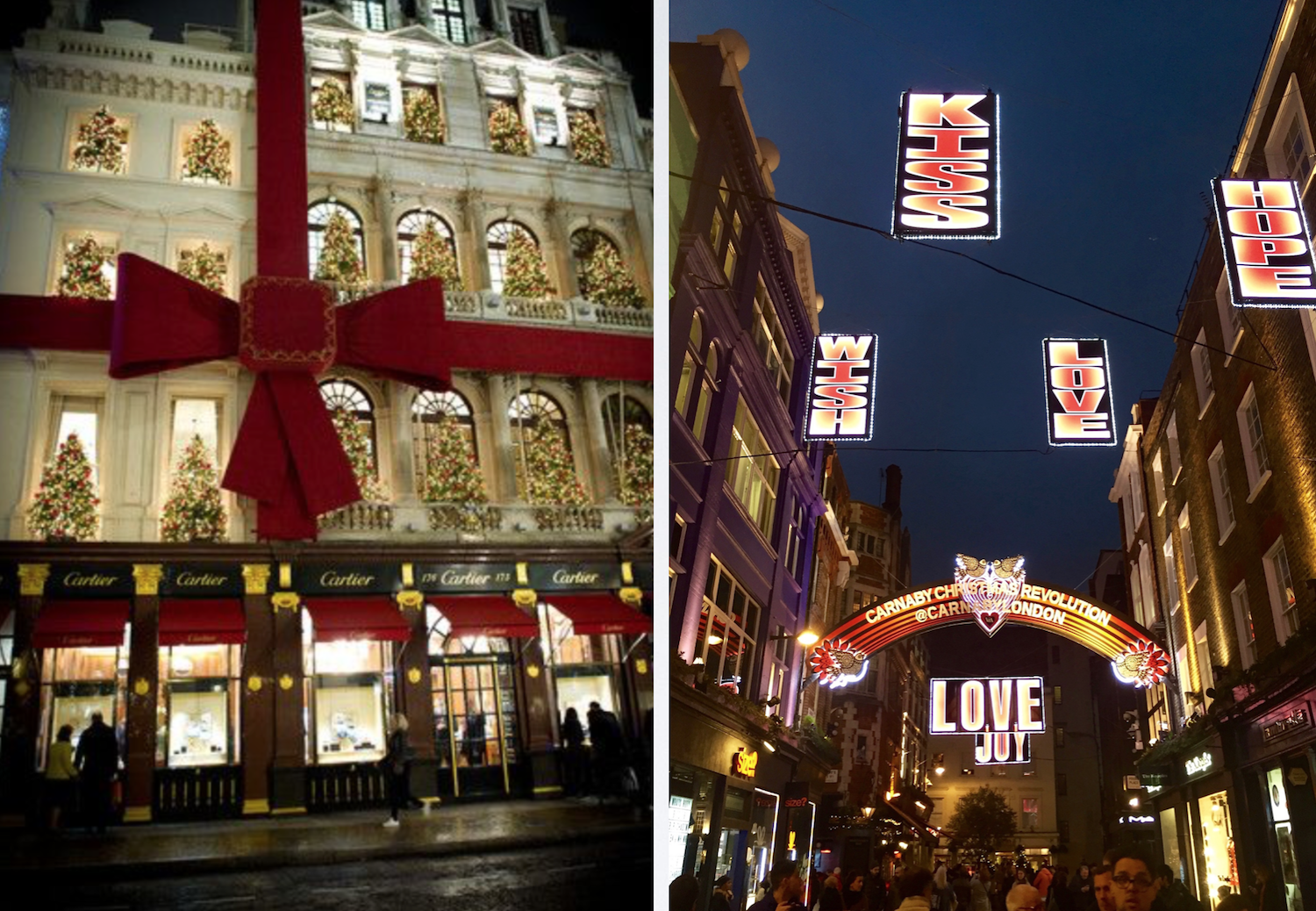 Left: The exterior of Cartier all wrapped up for Christmas. Right: Carnaby Street