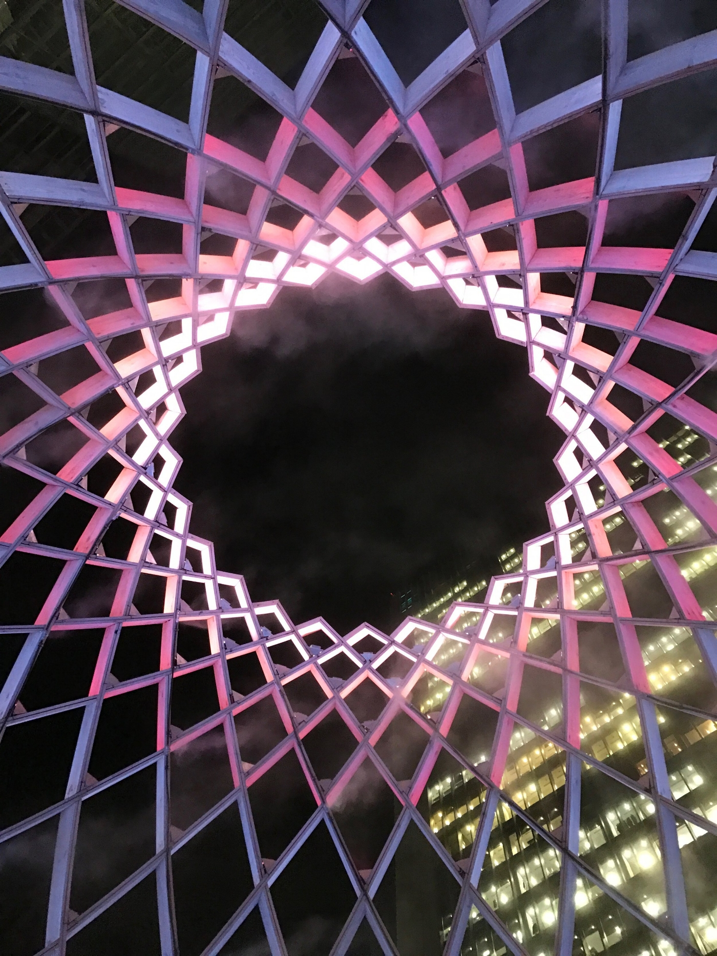 Looking up inside the Ovo light installation at Winter Lights, Canary Wharf 2017