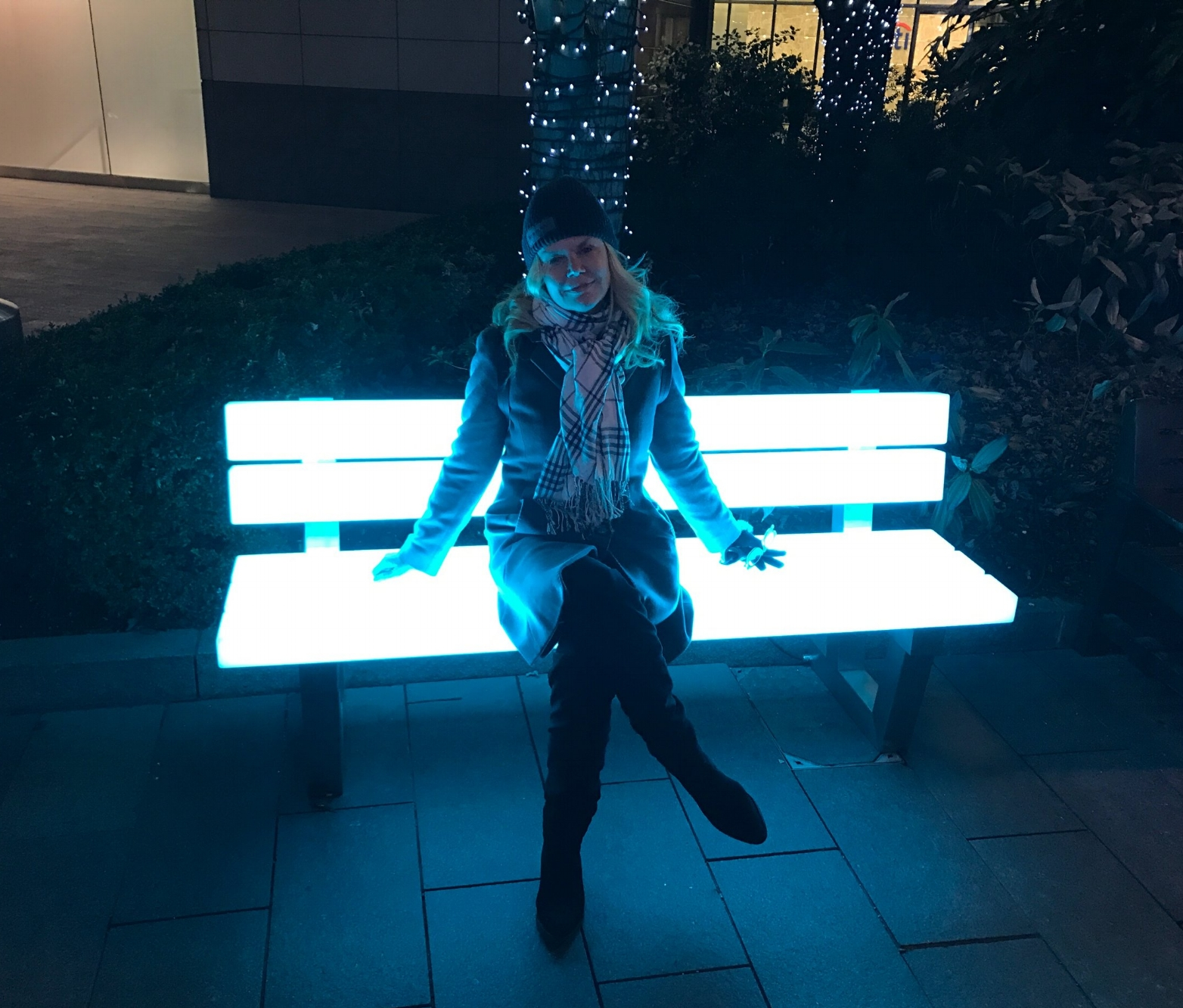 A Broad in London, Electric Bench at Winter Lights, Canary Wharf London