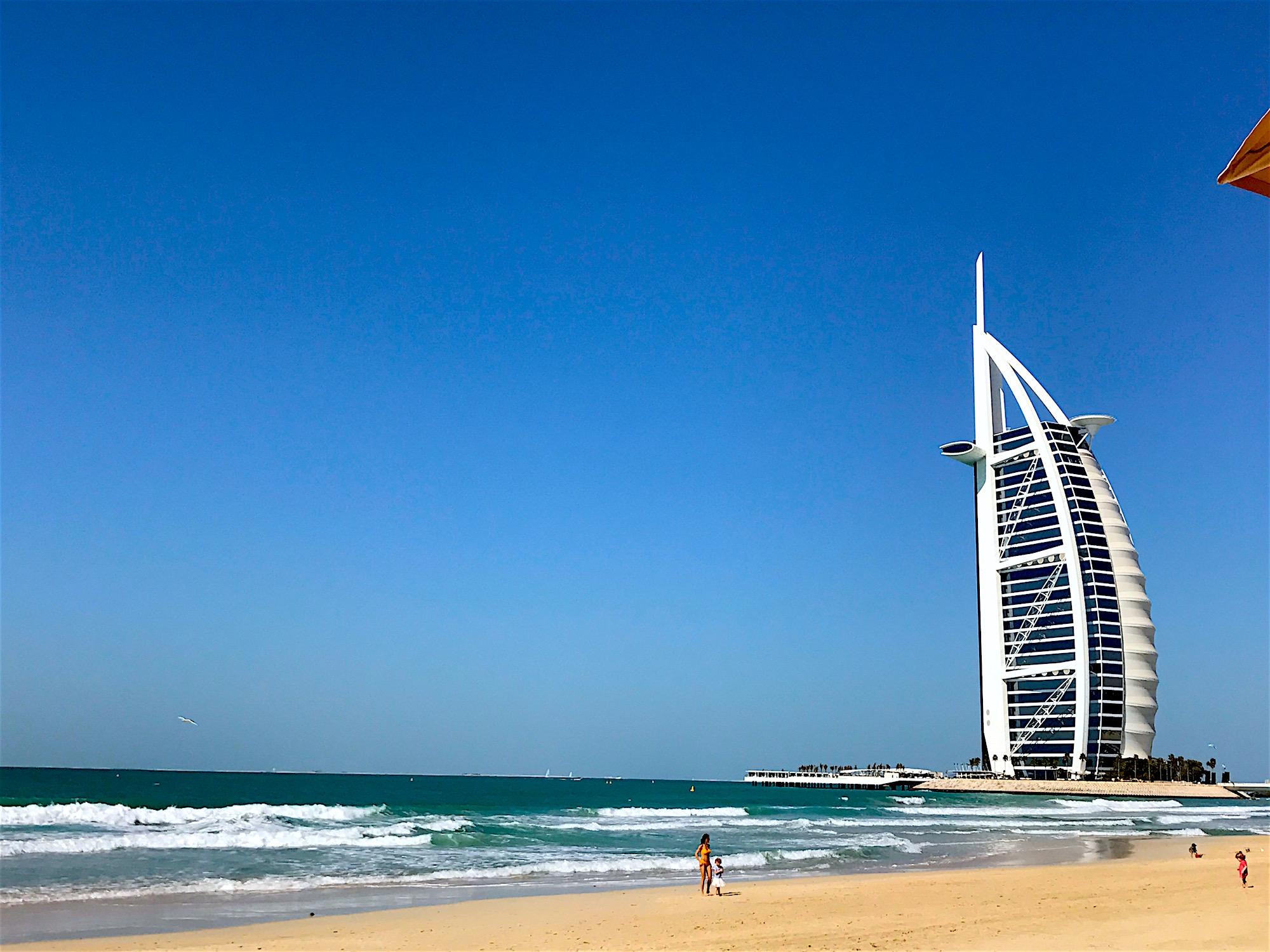 Jurmeriah Beach, Dubai with view of Burj Al Arab