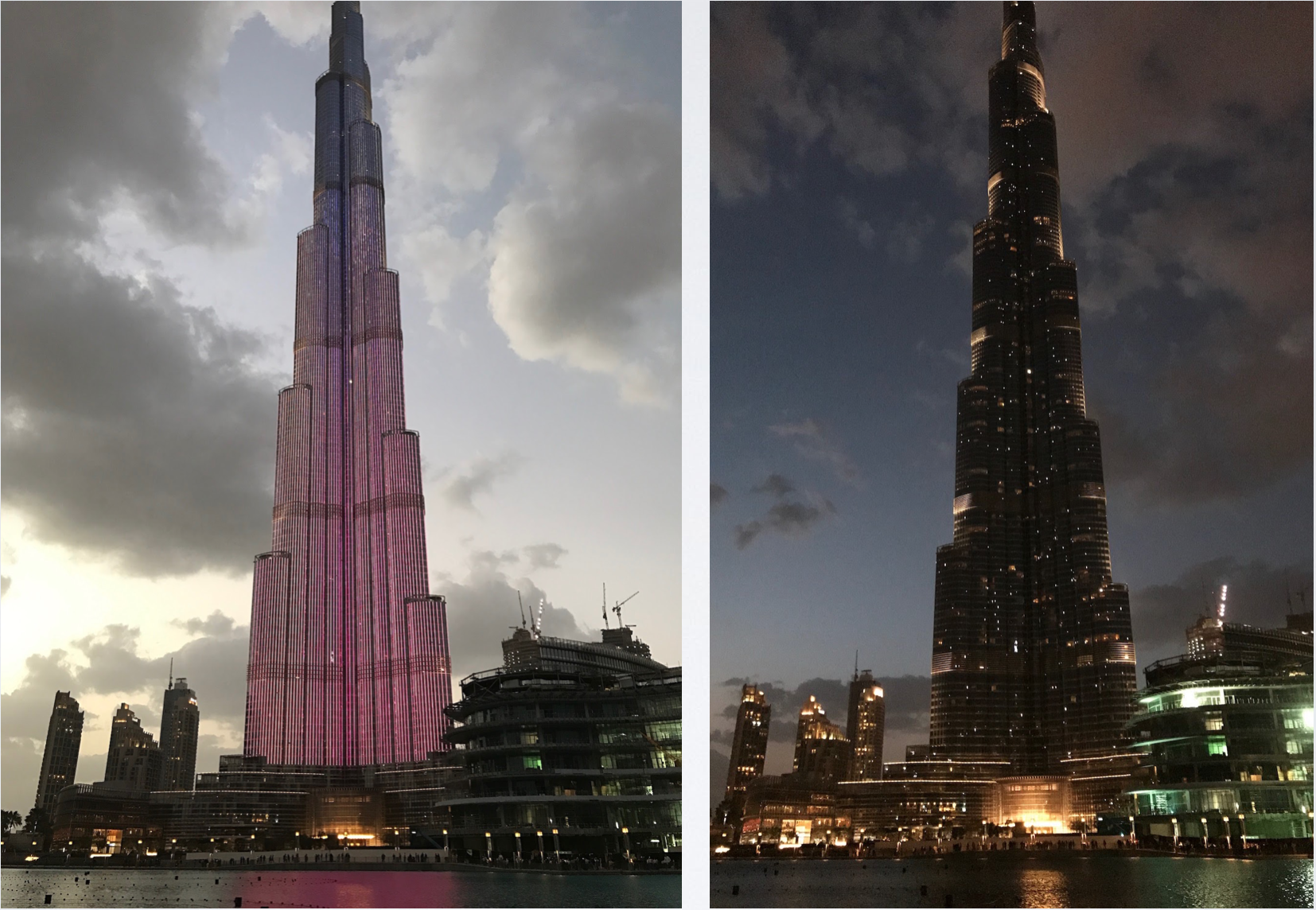 The Burj Khalifa, world's tallest building puts on a light show. Click on photo.