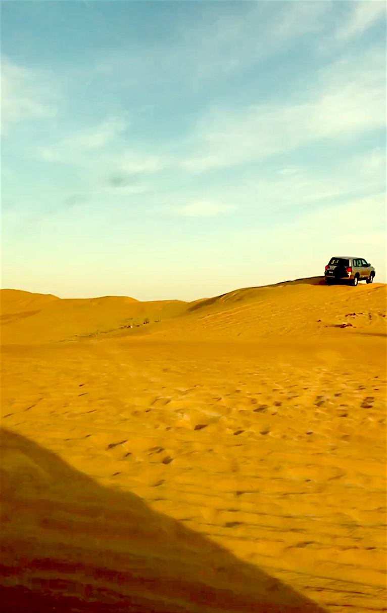 Dune Bashing in the Desert. Click to watch. Castle on The Hill was playing by Ed Sheehan. Perfect driving music.  .