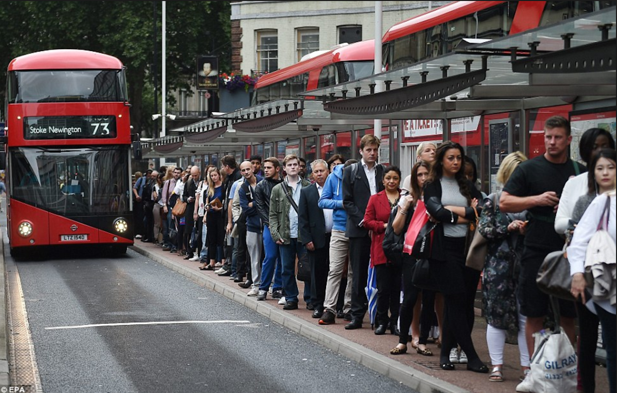 Queuing For a bus in London
