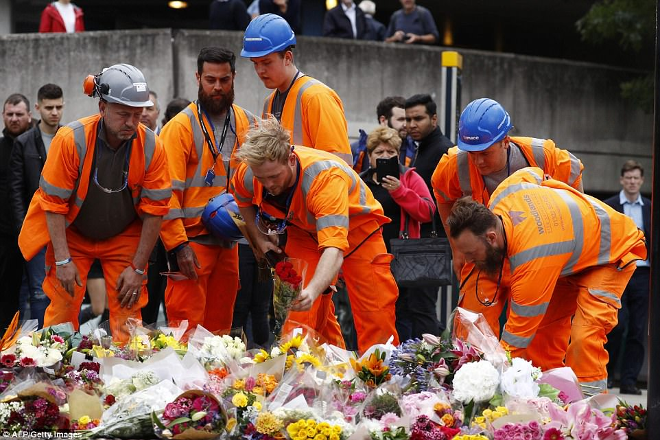 London's road workers paying their respects for the victims of the London Bridge Terrorist Attack