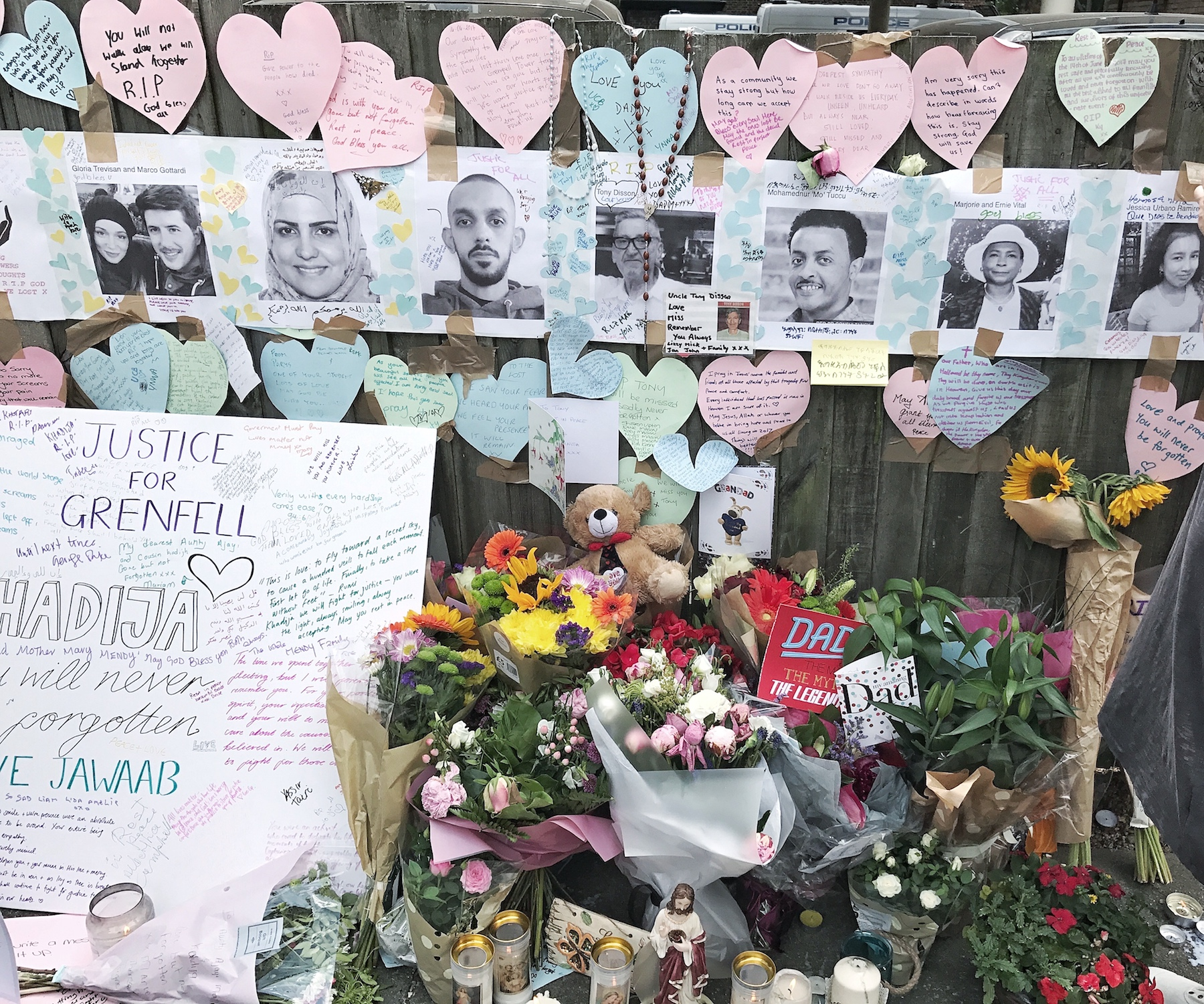 Photos of dead or missing people line the walls of the Grenfell neighbourhood after the devastating fire.
