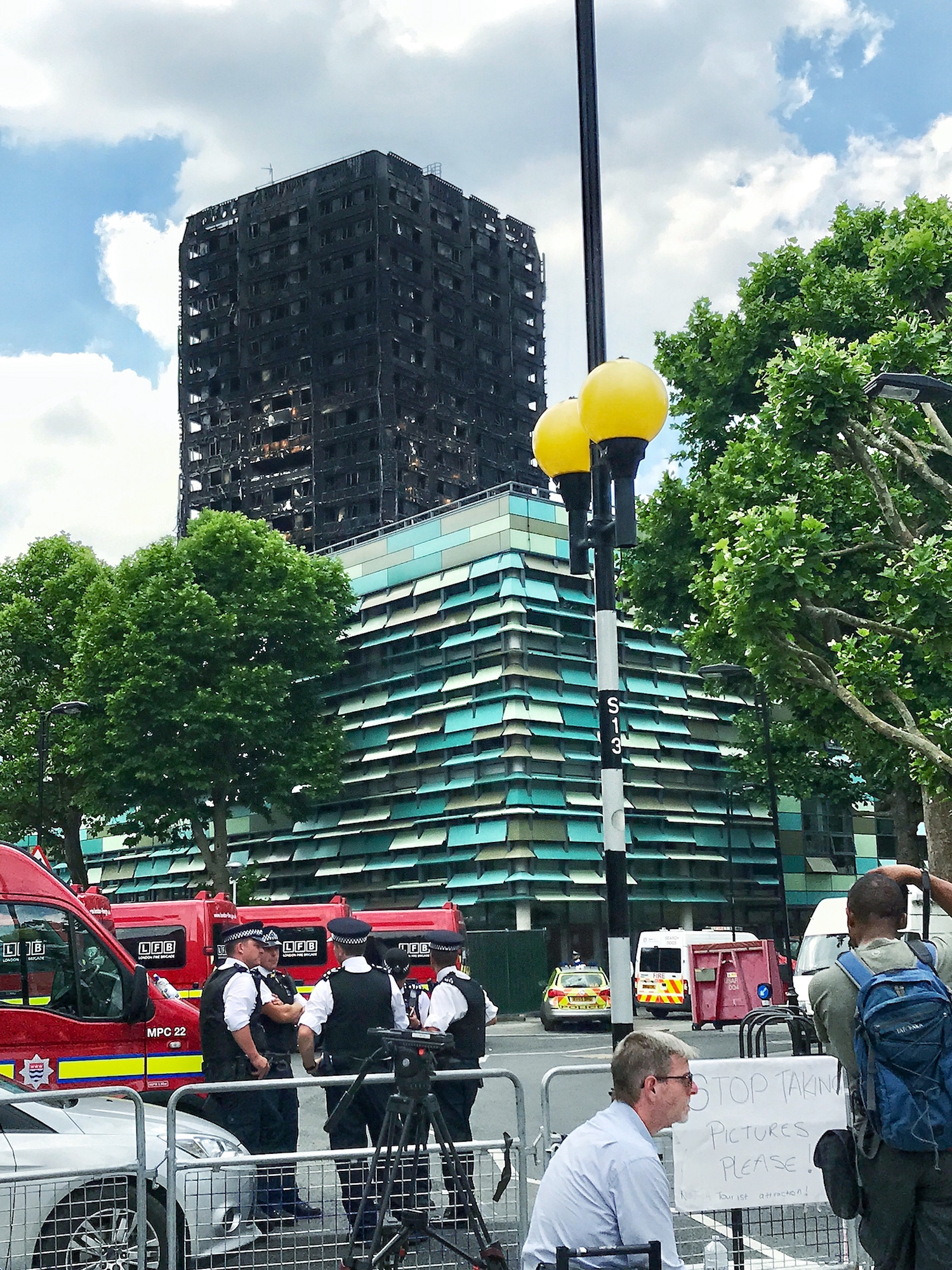 The remains of the Grenfell Tower after a devastating fire. London