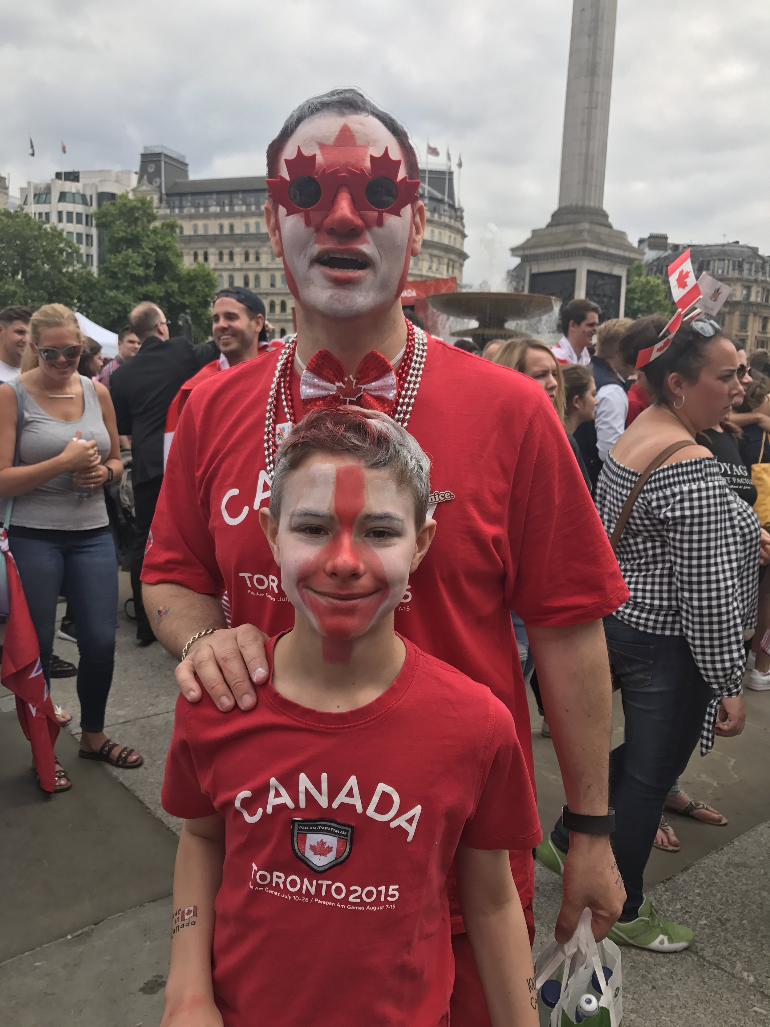 Father and Son at Trafalgar Square on Canada Day
