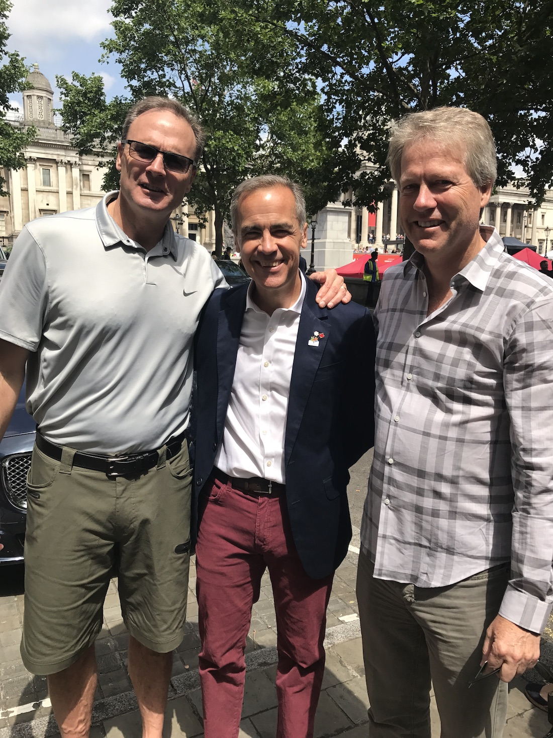 Ken Clausen, Mark Carney and Bruce MacLaren. Canada House. Canada's 150th