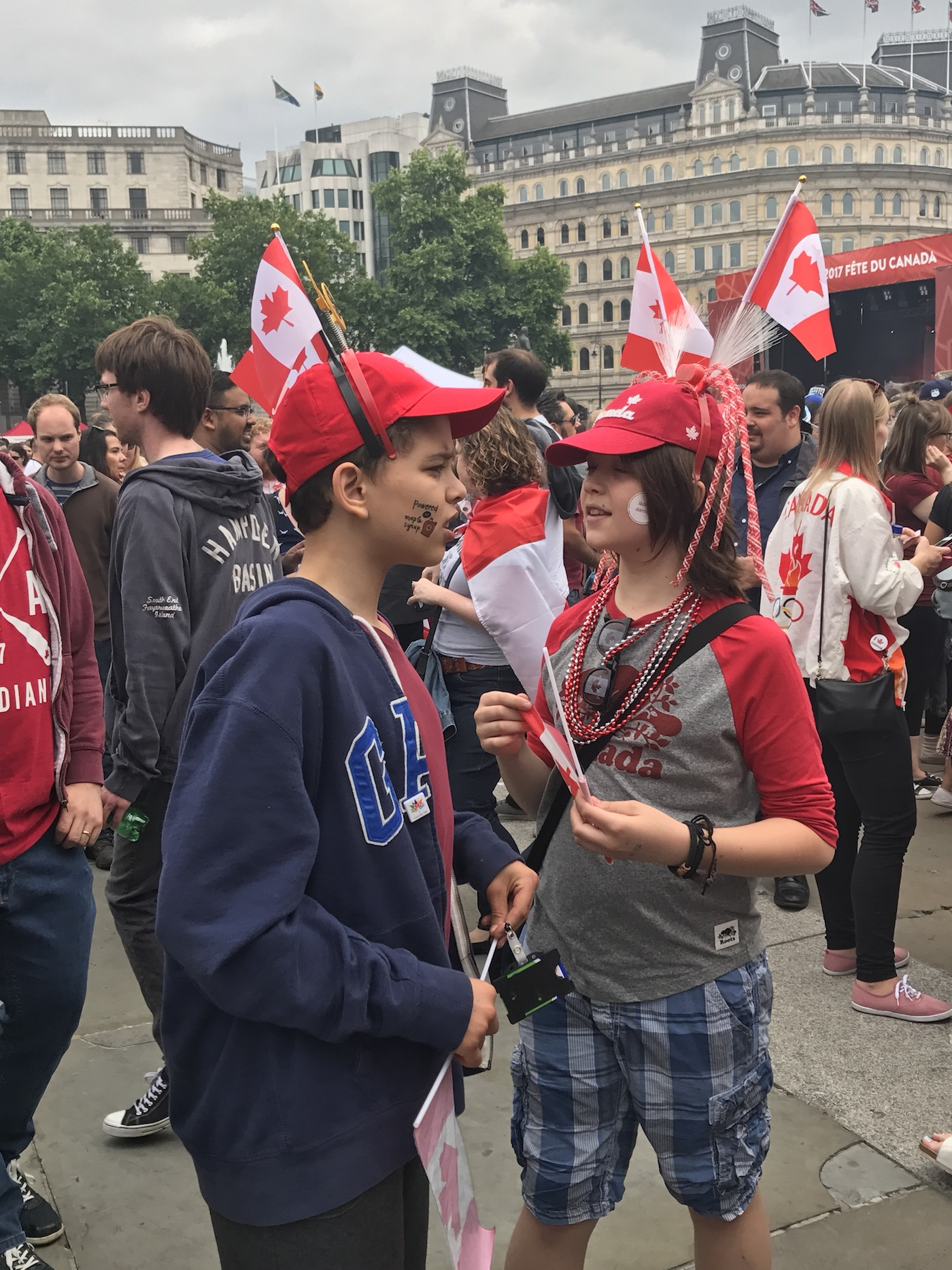 Canadian kids celebrating Canada Day in Trafalgar Square 2017