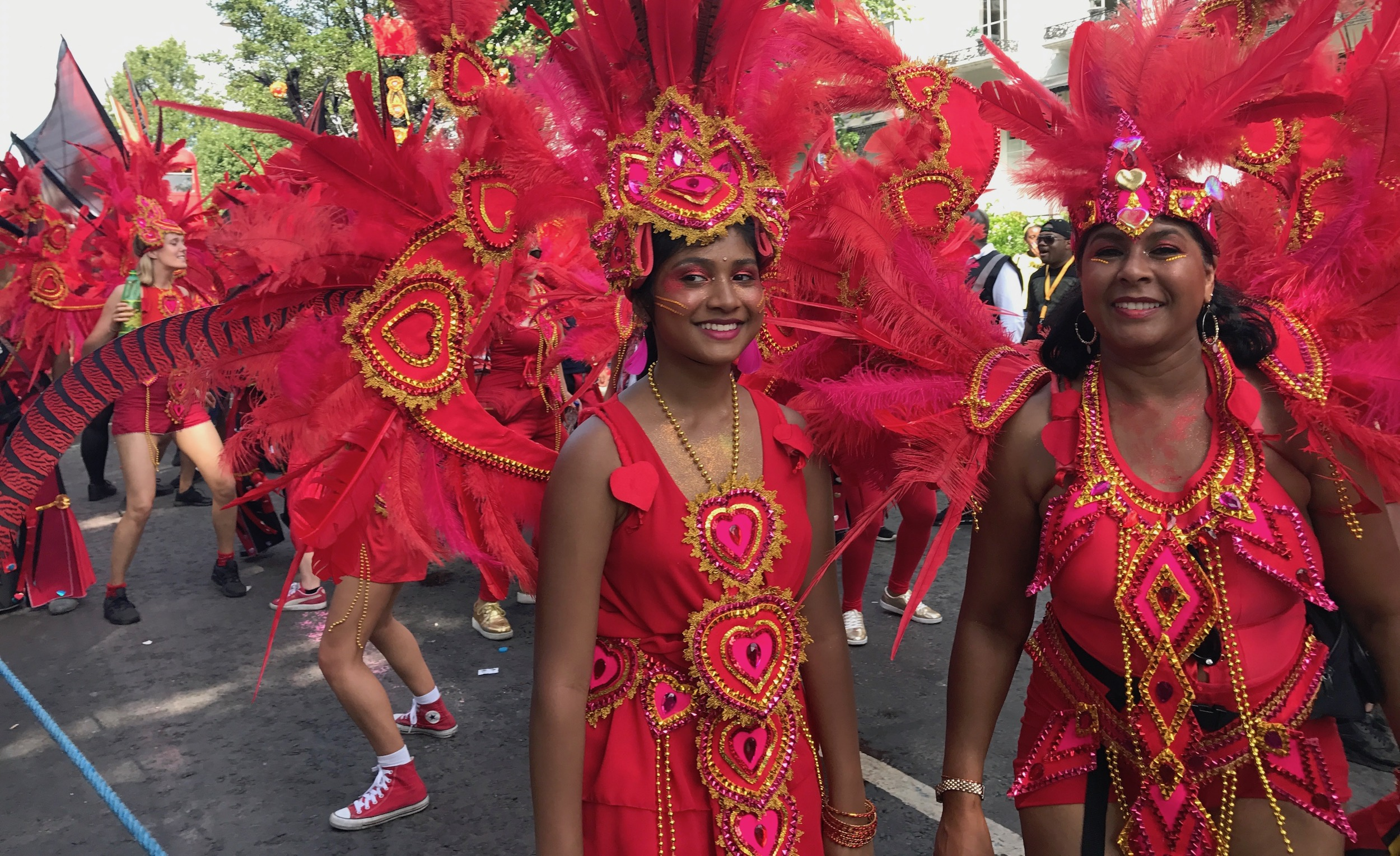 Dancers in Red. Notting Hill Carnival 2017