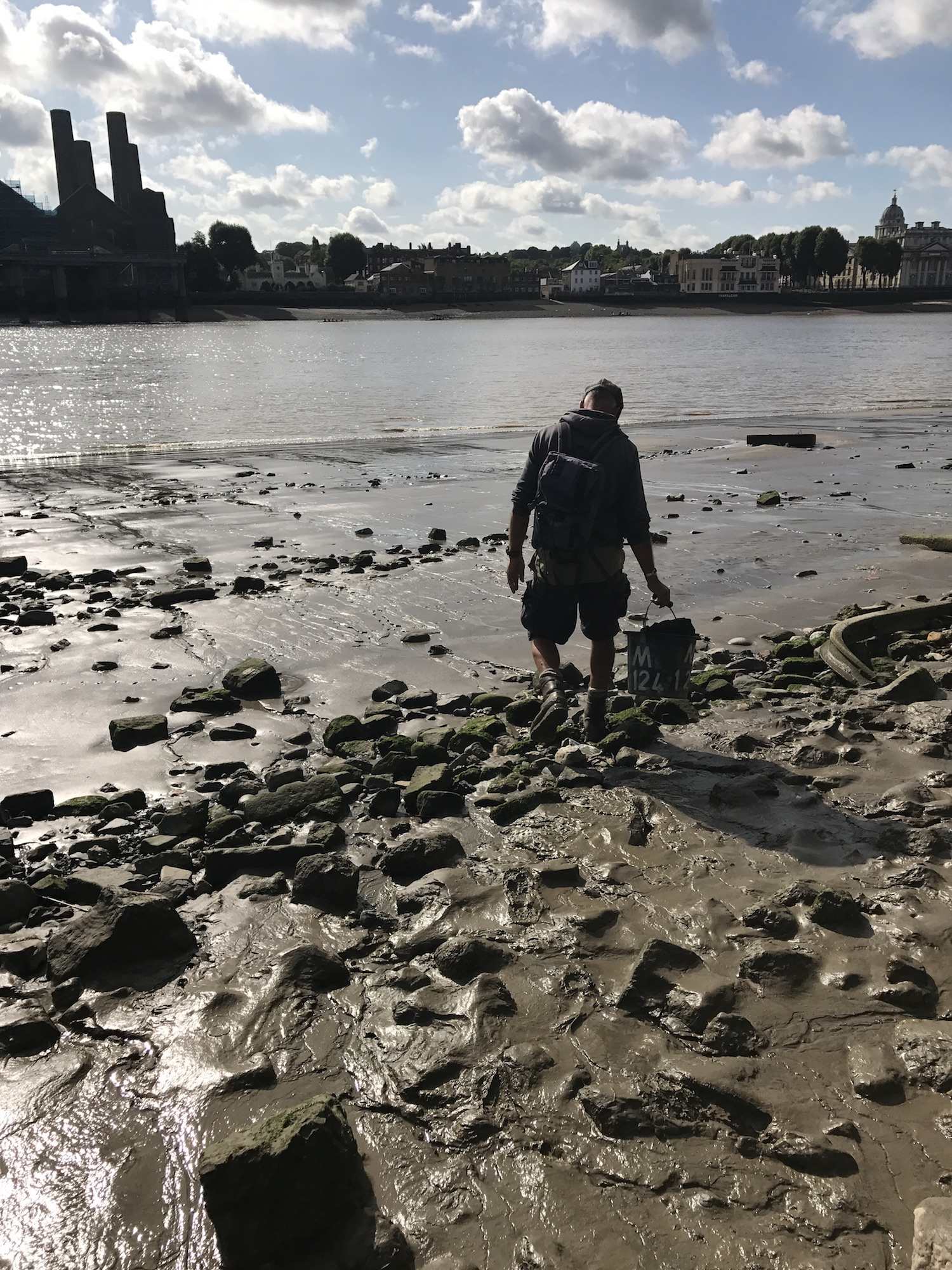 Mud-God Steve Brooker Mudlarking on the banks of The Thames