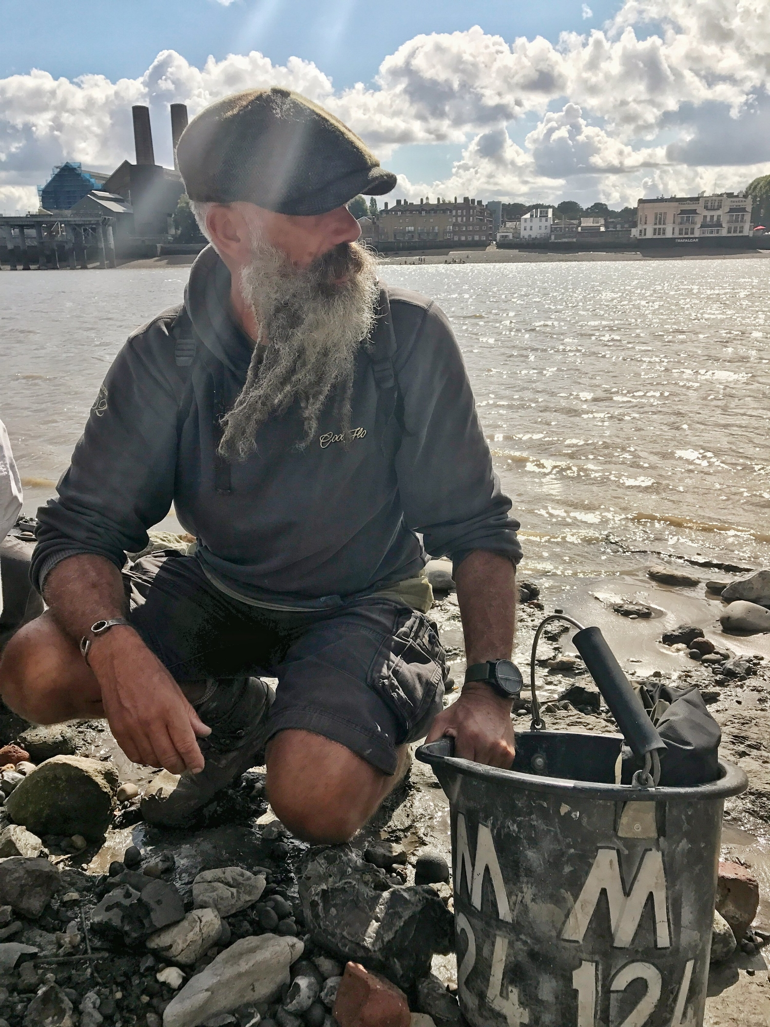 Mudman with Bucket on the foreshore of the Thames