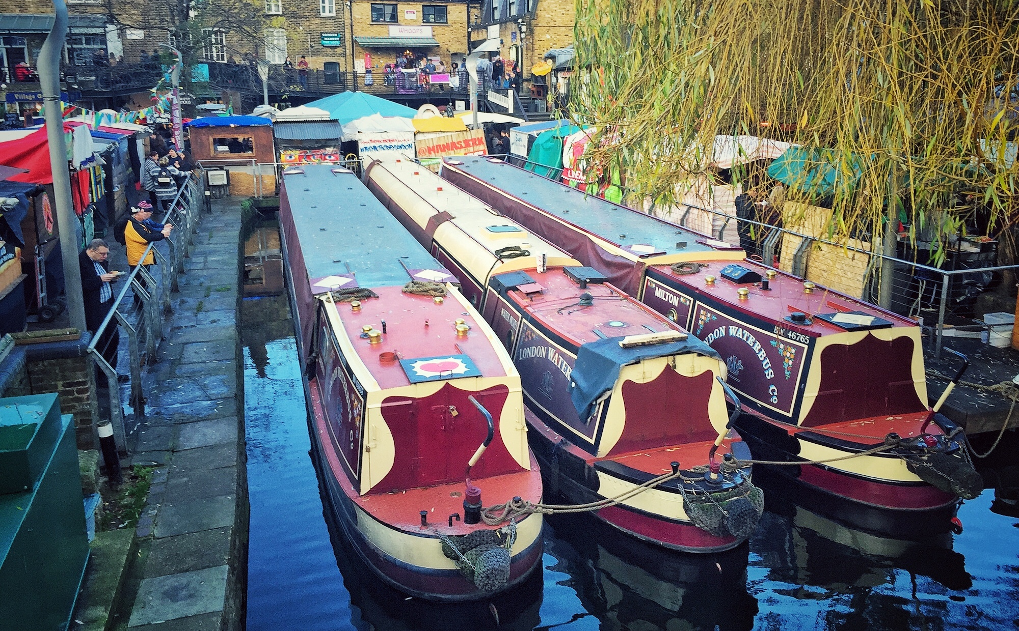 Boats in Canal at Camden Market. A Broad In London