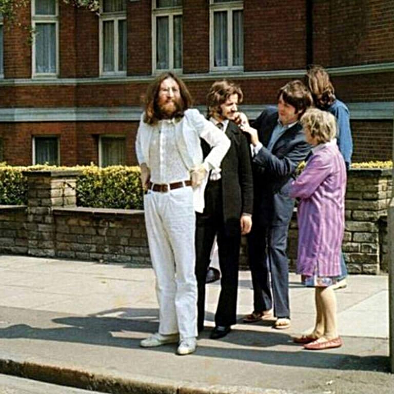 Beatles at Abbey Road Waiting to Cross