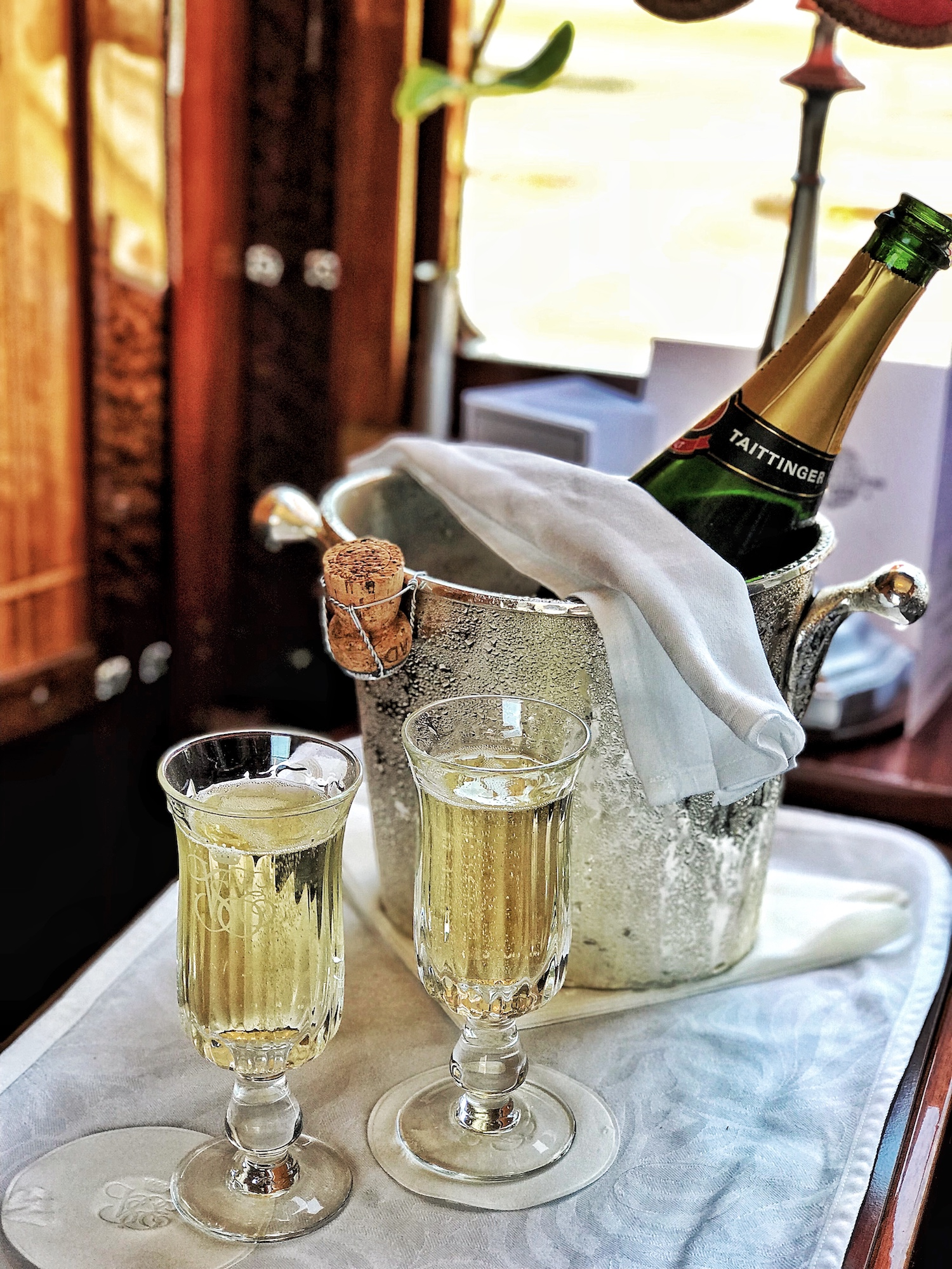 champagne aboard the Orient Express.