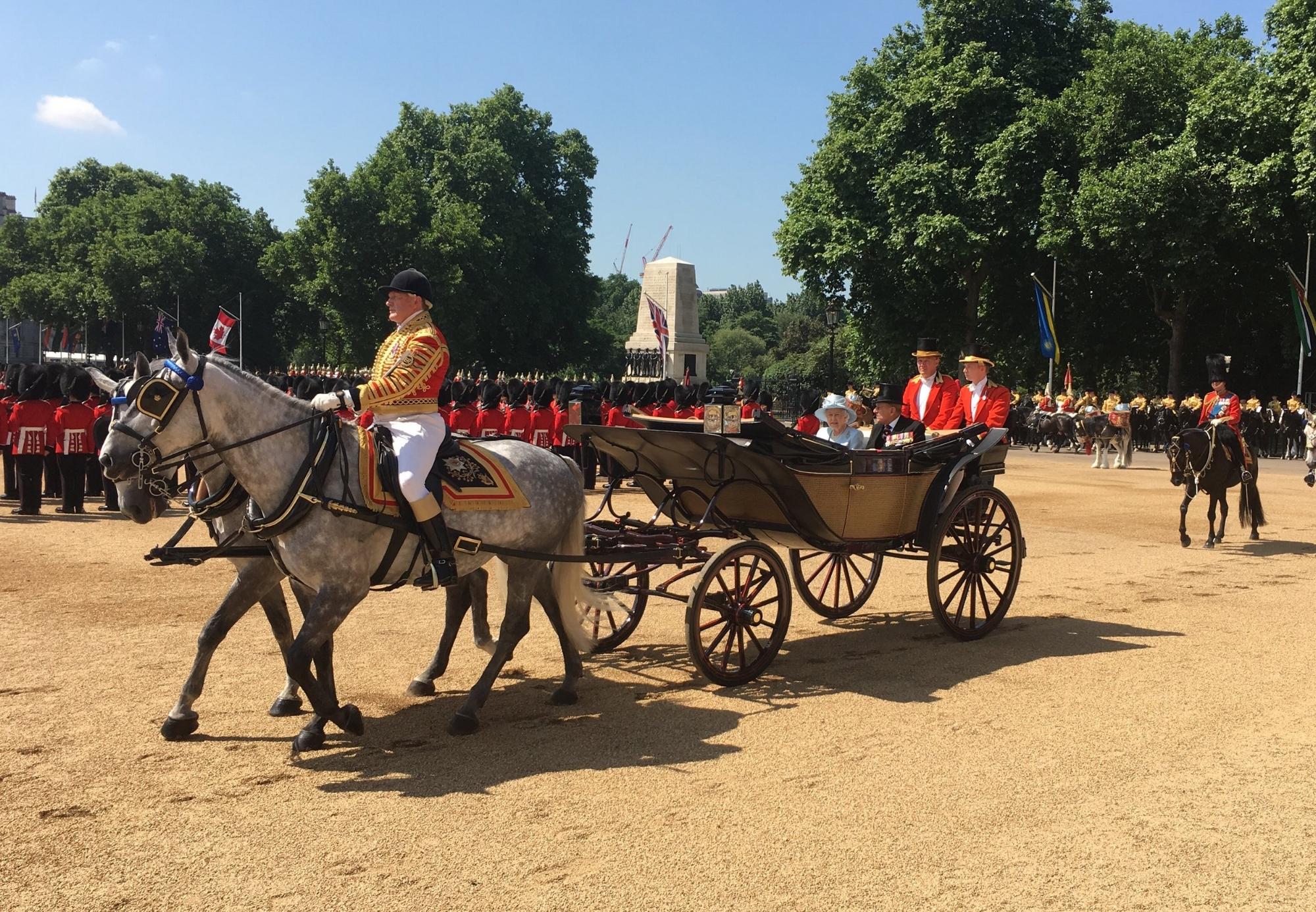The Queen and Prince Philip arriving at Royal Horse Guards during Trooping Of Colour