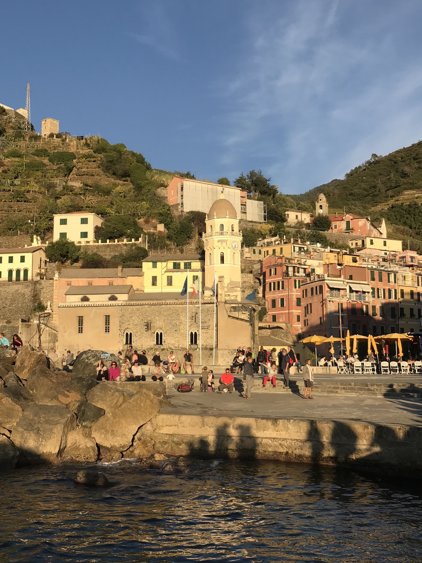 Vernazza, Italy. Leaving by boat