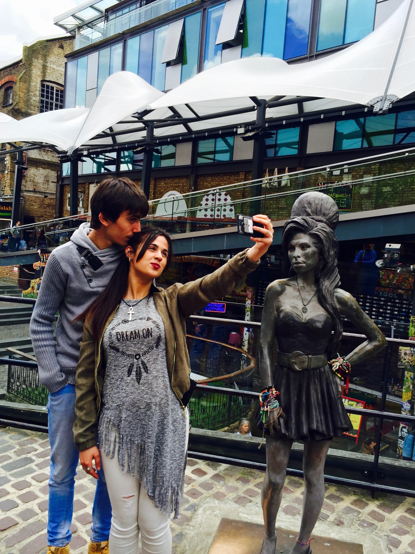 Posing in front of Amy Winehouse statue in Camden Market.