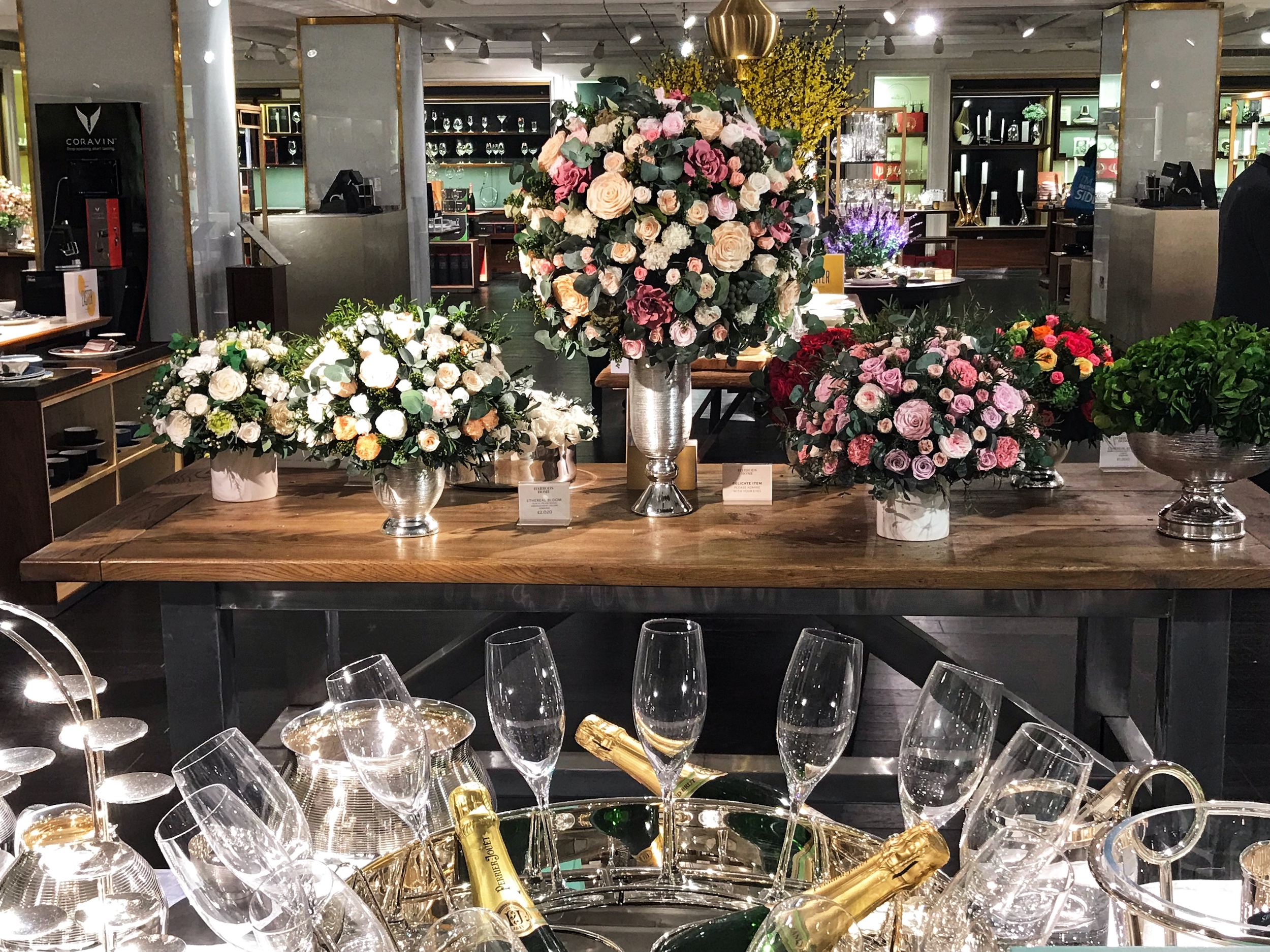 Flowers and Champagne Glasses In Harrods.jpg