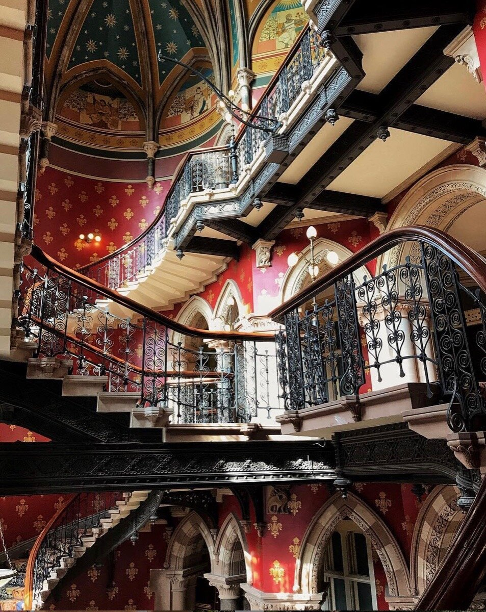 The grand staircase in the St. Pancras Hotel