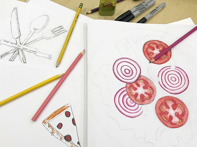 Started to draw food so we can paint a community meal on our next garden picnic table! Learning about the foods the students love ❤️ . . #arttherapy #artheals #healingarts #makeartwithkids #photographyforkids #murals #muralpainting #communitymurals #collaborativearts  #volunteer #nonprofit #giveback #theraputicarts #theraputicphotography #stopsexualassault  #stophumantrafficking #saynotohumantrafficking #stopsextrafficking #hope #selfexpression #expression #freedom #love