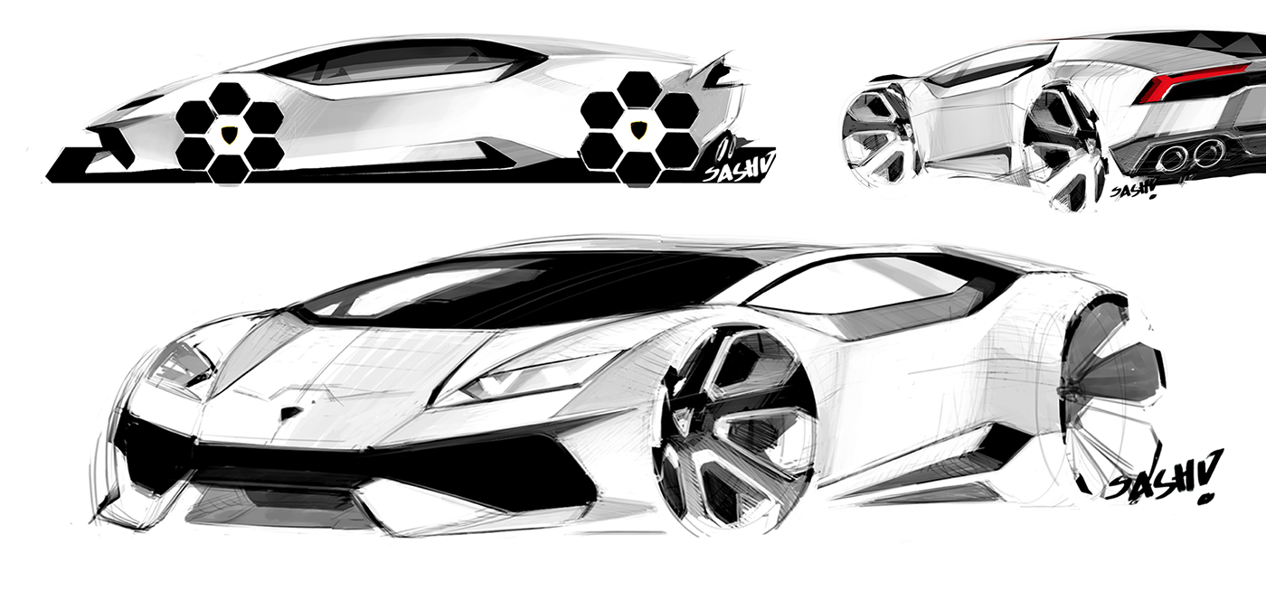 Exemplo da interação entre as marcas da VW: Sasha Selipanov, designer da Bugatti, participou do projeto do Lamborghini Huracan. Fonte: Behance - Sasha Selipanov