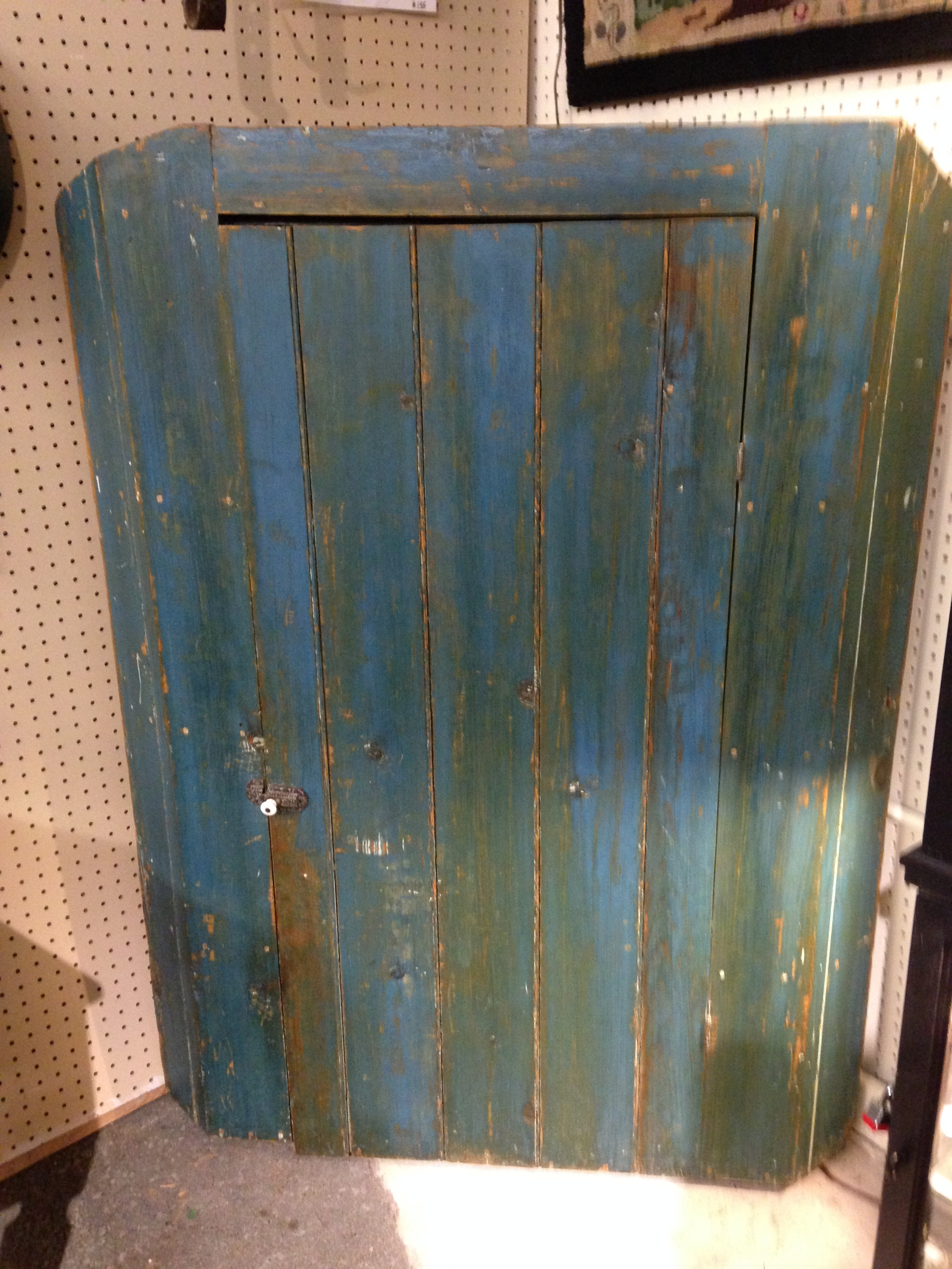 Antique Blue Corner Cupboard
