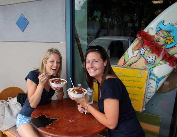 Meg and I eating Acai Bowls in Waikiki, 2011