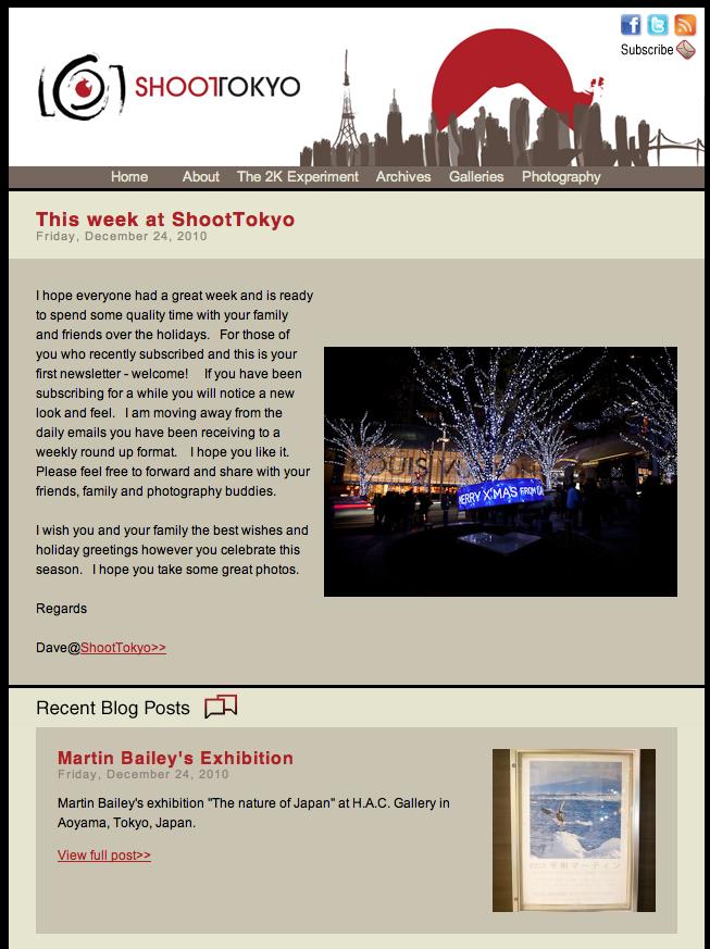 Shoot Tokyo Newsletter Issue: #1