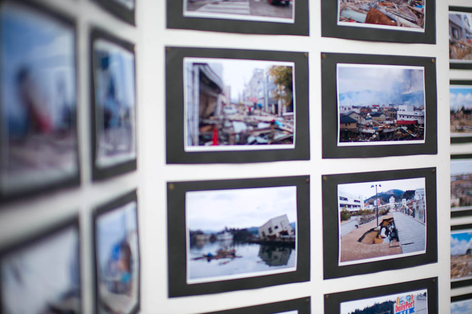 Pictures of people impacted up north on display to raise money at the Cherry Blossom Festival on Meguro River in Nakameguro