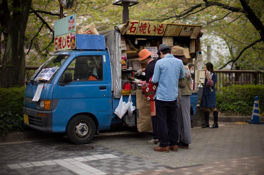 Sweet Potato Truck in Nakameguro, Tokyo, Japan.