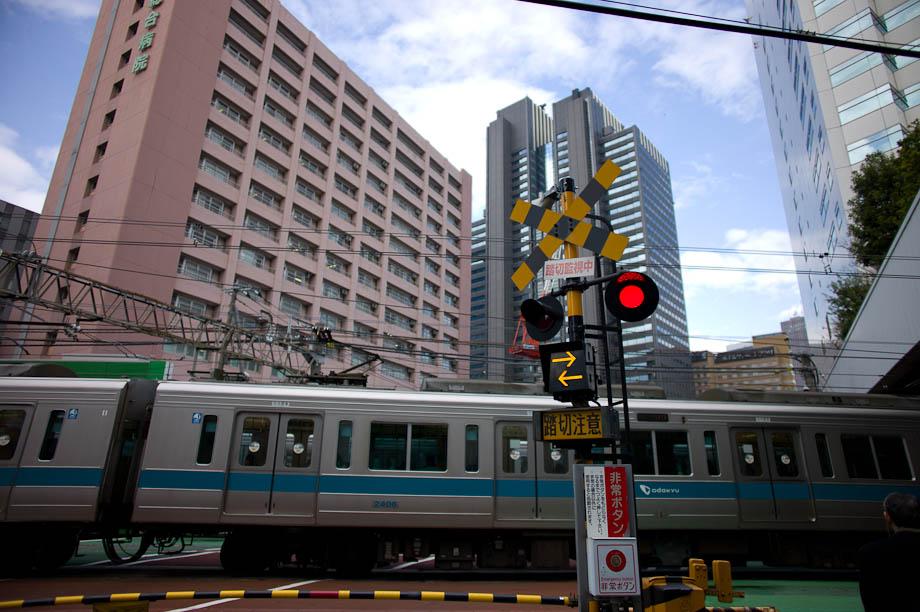 Train and Shinjuku Maynds Tower in Shinjuku, Tokyo, Japan