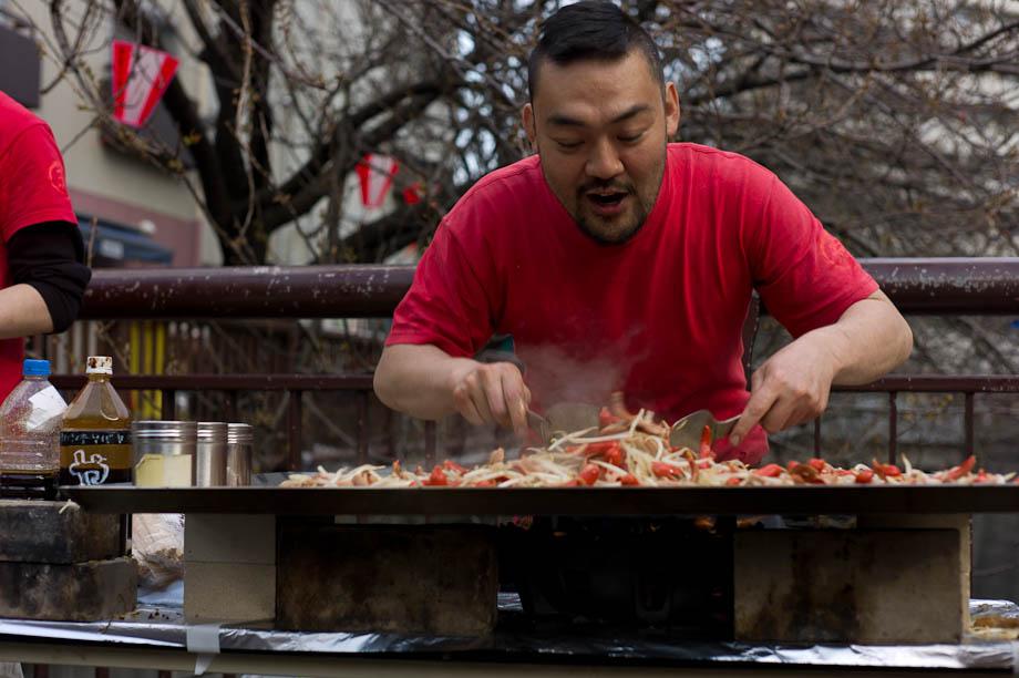 Cooking at Ohanami at Meguro River, Tokyo, Japan