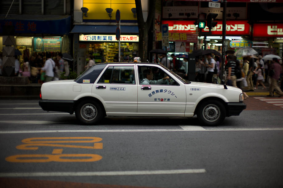 Taxi in Shibuya, Tokyo, Japan