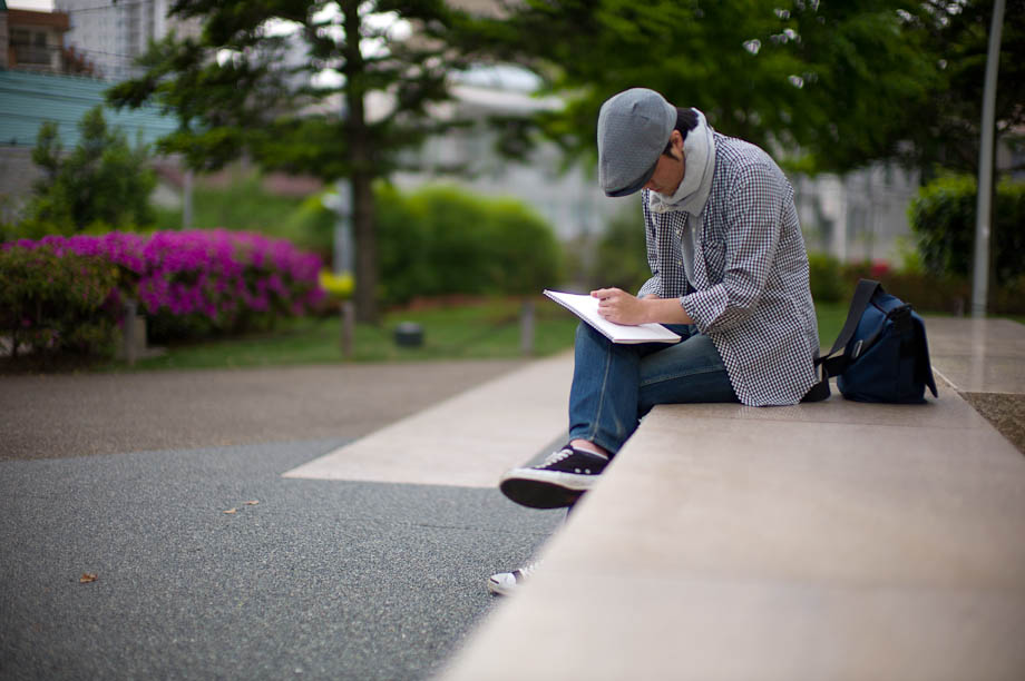 Drawing in the park next to Tokyo Midtown