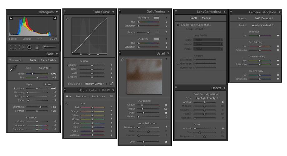 Adobe Lightroom Controls